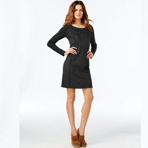 INC Petite Whip-Stitch Moleskin Dress, Deep Black